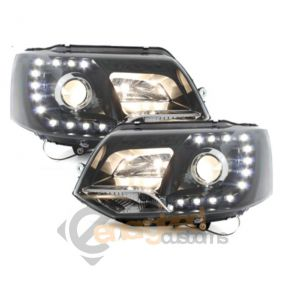 Upgrade VW Transporter T5.1 GP DRL Devil Eye Headlights Pair Black 2010-2014