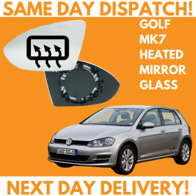 VW Golf MK7 Inc SV 2012-2020 Heated Door Wing Mirror Glass UK Left Passenger Side