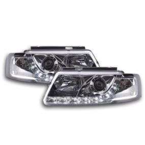 VW PASSAT 3B 96-00 CHROME DRL DEVIL EYE R8 PROJECTOR HEADLIGHTS PAIR NEW