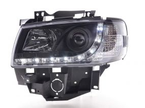 VW T4 TRANSPORTER 90-03 LONG NOSE BLACK DRL DEVIL EYE R8 HEAD LIGHTS LAMPS NEW