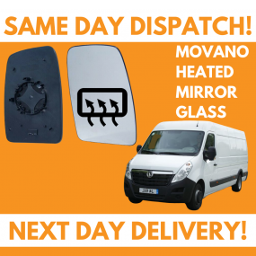 Vauxhall Movano 2010-2020 Heated Door Wing Mirror Glass UK Right Drivers Side