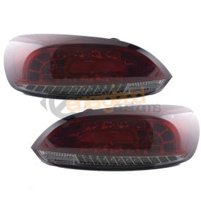 VW SCIROCCO 2008-2010 RED & SMOKED LED LEXUS REAR TAIL LIGHTS LAMPS PAIR