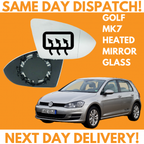 VW Golf MK7 Inc SV 2012-2020 Heated Door Wing Mirror Glass UK Right Drivers Side