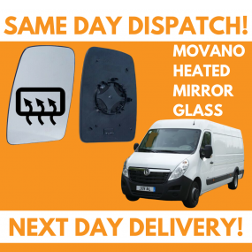 Vauxhall Movano 2010-2020 Heated Door Wing Mirror Glass UK Left Passenger Side