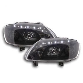VW CADDY/TOURAN 2003-2010 BLACK DRL DEVIL EYE R8 HEADLIGHTS HEADLAMPS PAIR