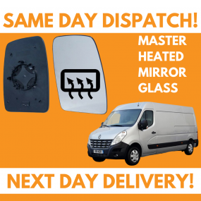 Renault Master 2010-2020 Heated Door Wing Mirror Glass UK Right Drivers Side