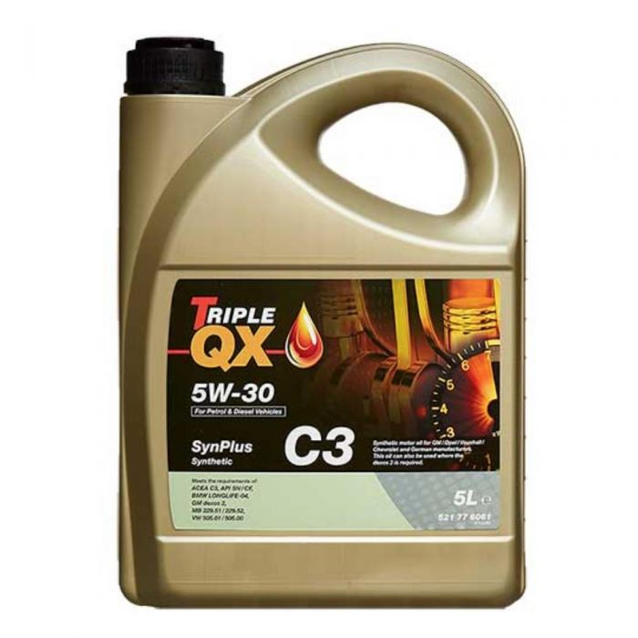 Car Engine Oil Triple QX SynPlus SAE 5W30 C3 Fully Synthetic Low Saps 5L 5 Litre